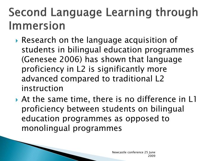 Second language learning through immersion
