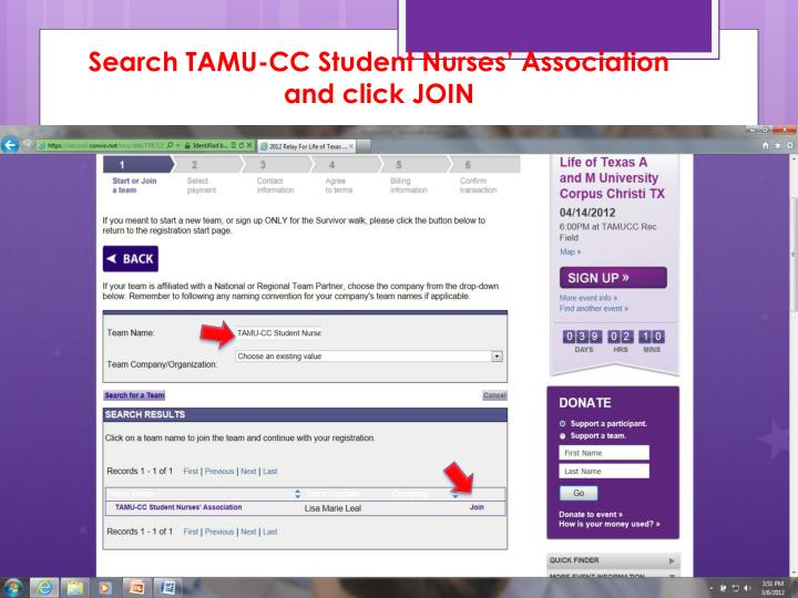 Search TAMU-CC Student Nurses' Association and click JOIN