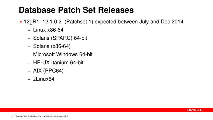 Database Patch Set Releases