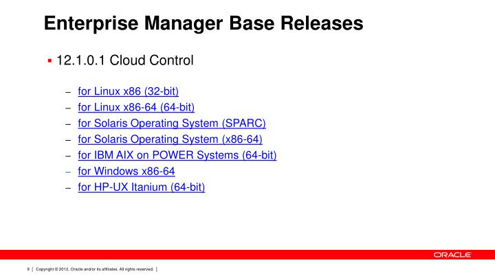Enterprise Manager Base Releases