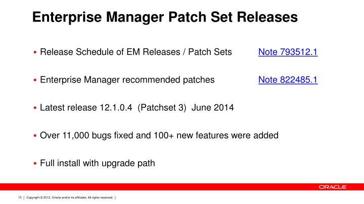 Enterprise Manager Patch Set Releases