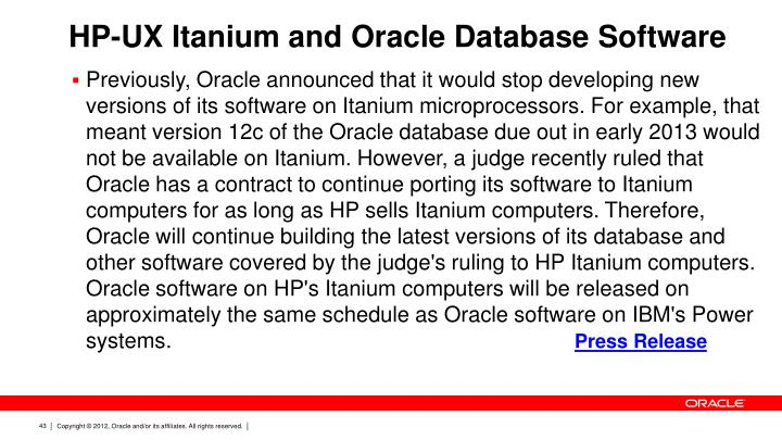 HP-UX Itanium and Oracle Database Software