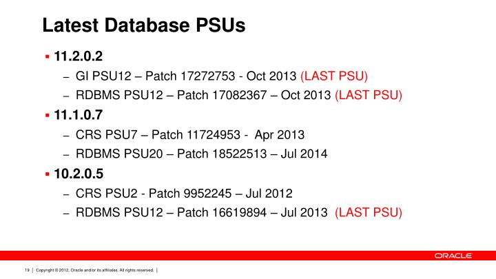 Latest Database PSUs