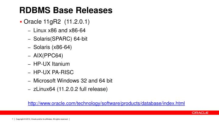 RDBMS Base Releases