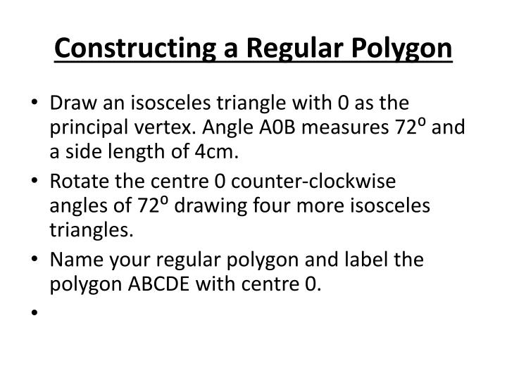 Constructing a regular polygon