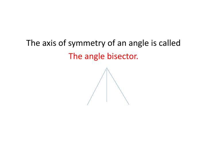 The axis of symmetry of an angle is called