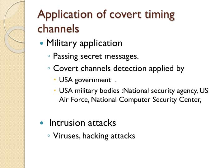 Application of covert timing channels