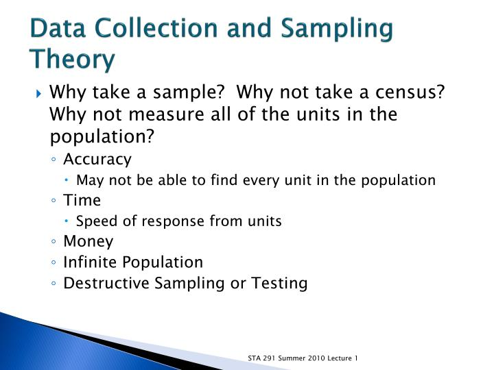 Data Collection and Sampling Theory