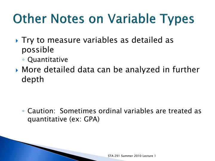 Other Notes on Variable Types