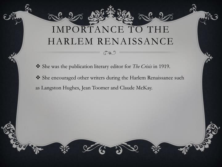 Importance to the Harlem renaissance