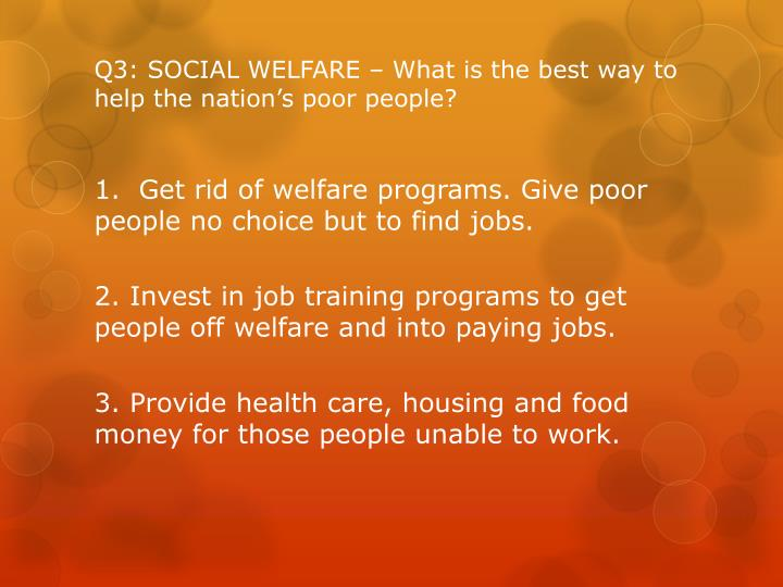 Q3: SOCIAL WELFARE – What is the best way to help the nation's poor people?