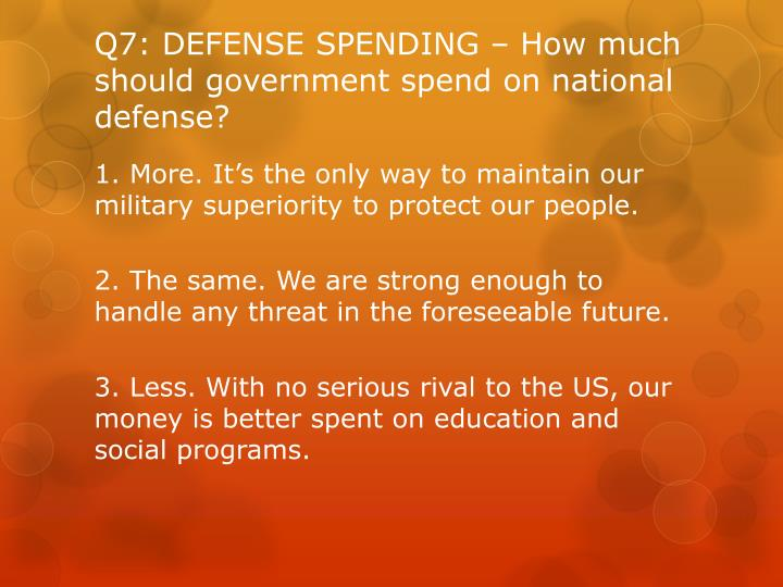 Q7: DEFENSE SPENDING – How much should government spend on national defense?