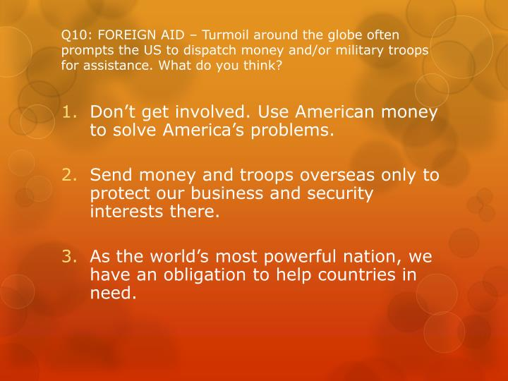Q10: FOREIGN AID – Turmoil around the globe often prompts the US to dispatch money and/or military troops for assistance. What do you think?