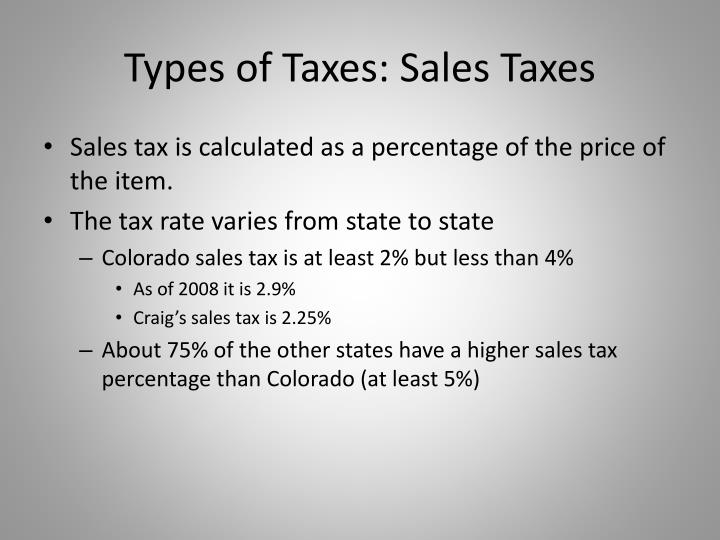 Types of Taxes: Sales Taxes