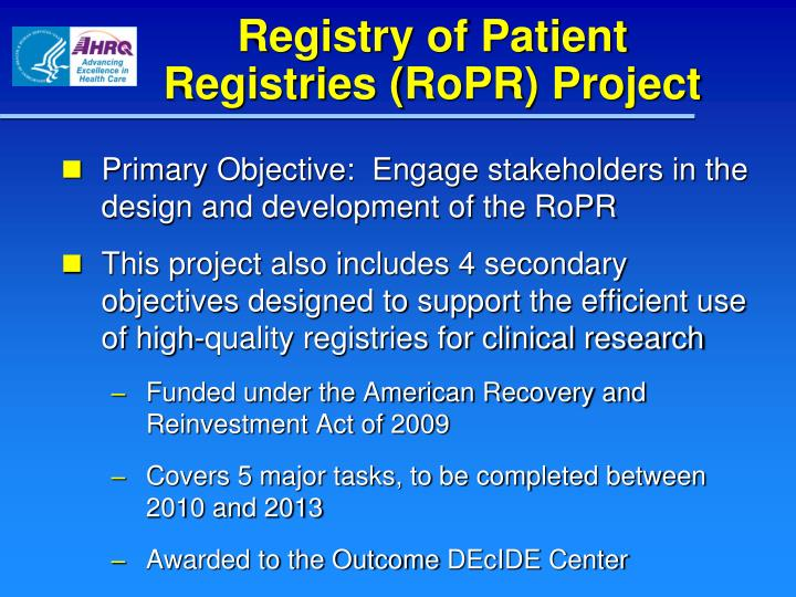 Registry of patient registries ropr project