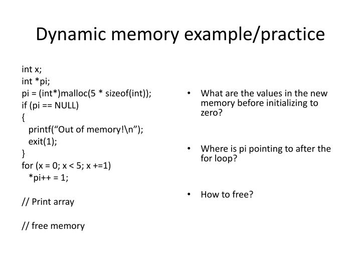 Dynamic memory example practice