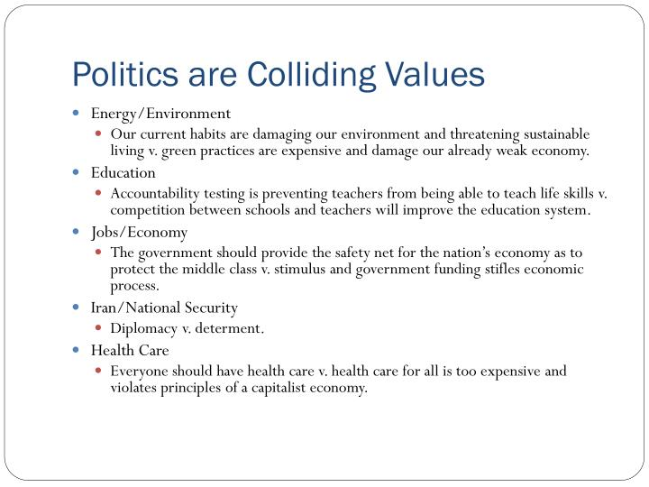 Politics are Colliding Values