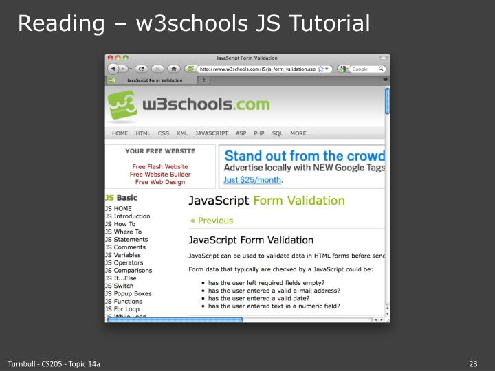 Reading – w3schools JS Tutorial
