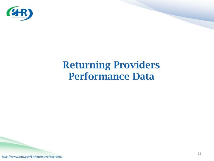 Returning Providers Performance Data