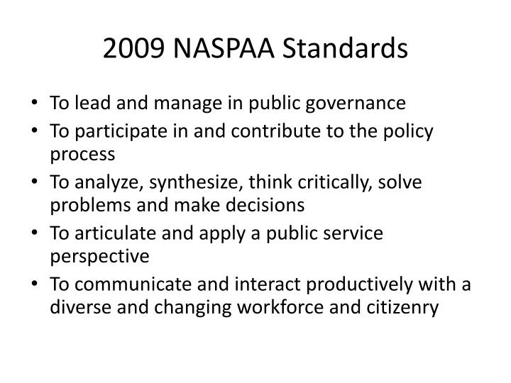 2009 NASPAA Standards