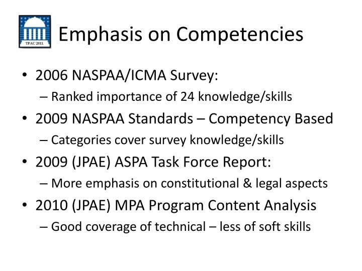 Emphasis on competencies