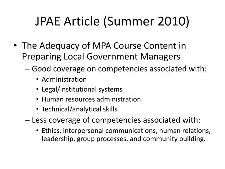 JPAE Article (Summer 2010)