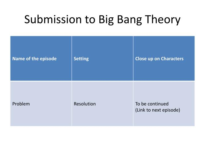 Submission to Big Bang Theory