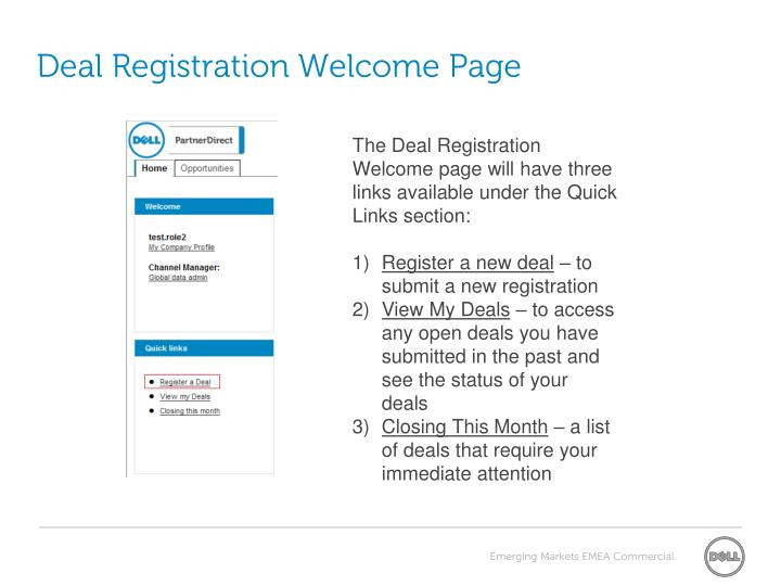 Deal registration welcome page