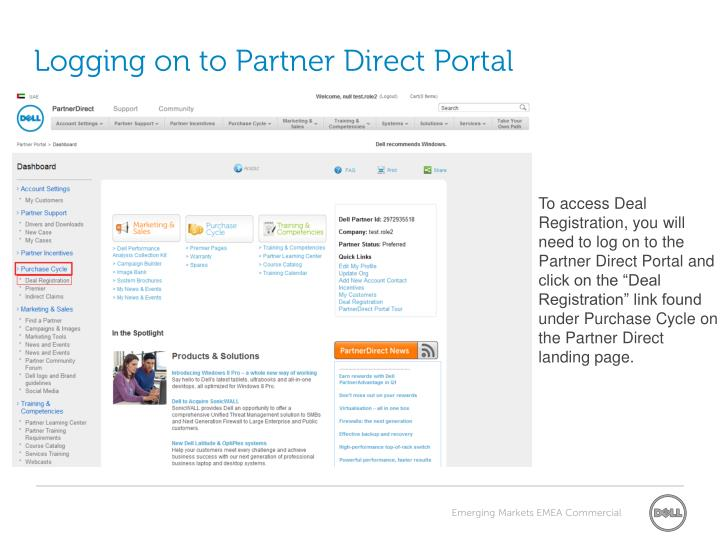 Logging on to partner direct portal