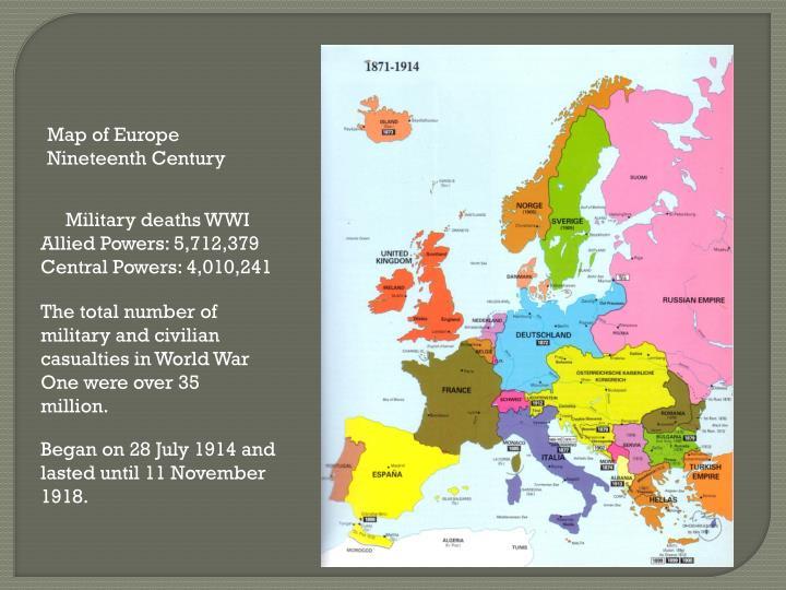 Map of Europe Nineteenth Century