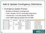 add update contingency definitions