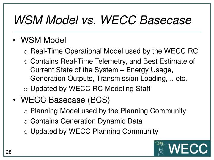 WSM Model vs. WECC Basecase