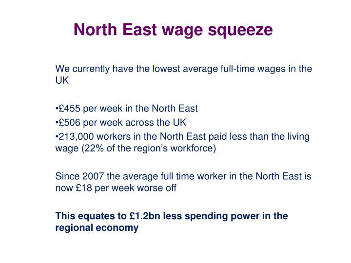 North East wage squeeze