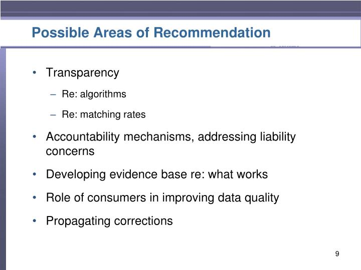 Possible Areas of Recommendation