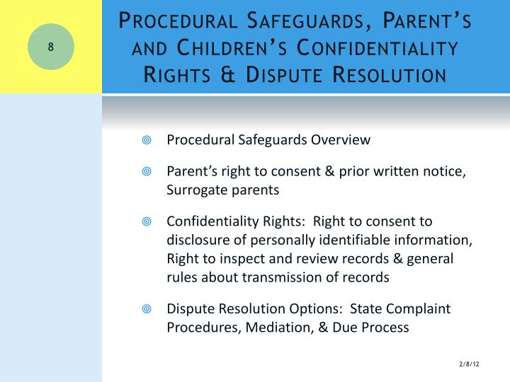 Procedural Safeguards, Parent's and Children's Confidentiality Rights & Dispute Resolution
