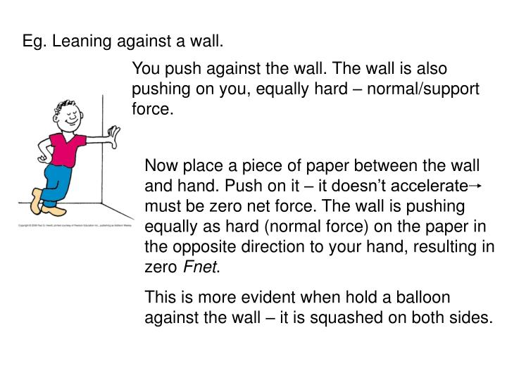 Now place a piece of paper between the wall and hand. Push on it – it doesn't accelerate     mus...