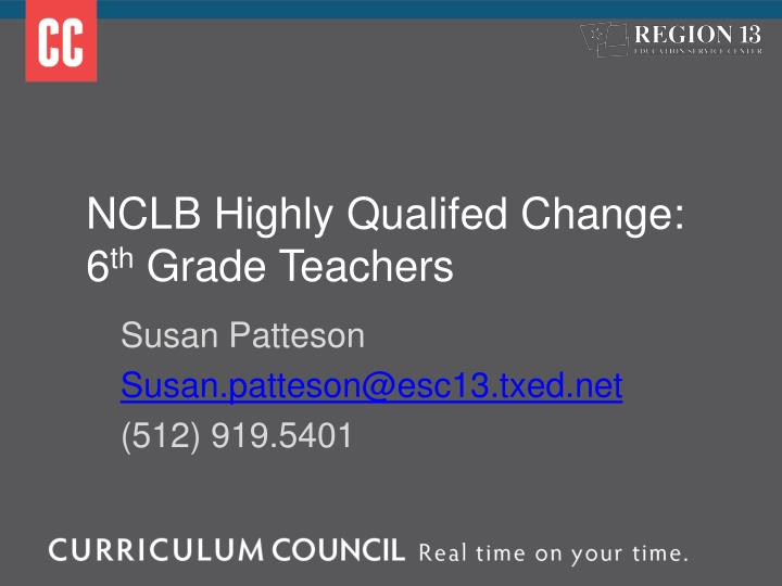 NCLB Highly Qualifed
