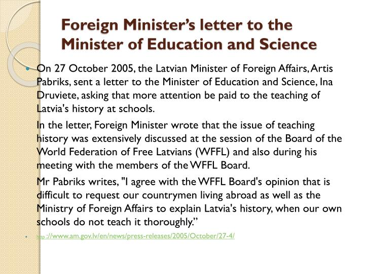 Foreign Minister's letter to the Minister of Education and Science