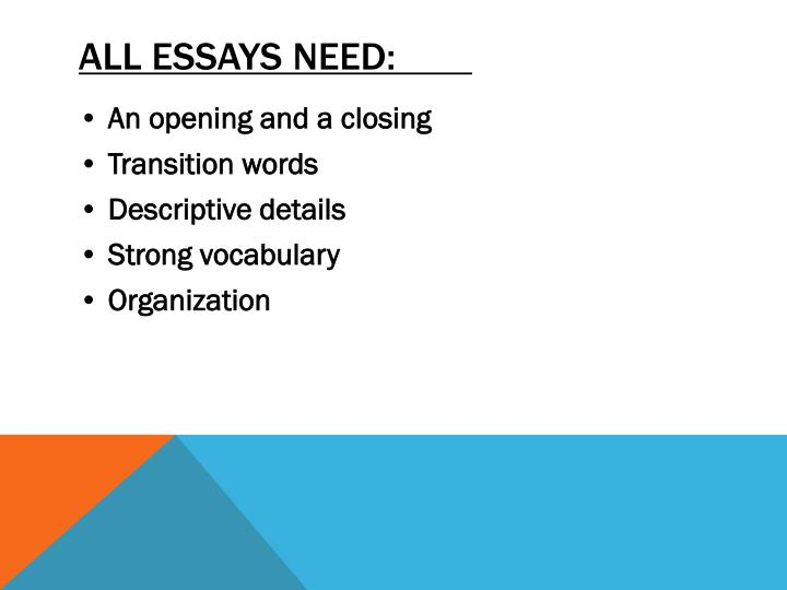 ALL ESSAYS NEED: