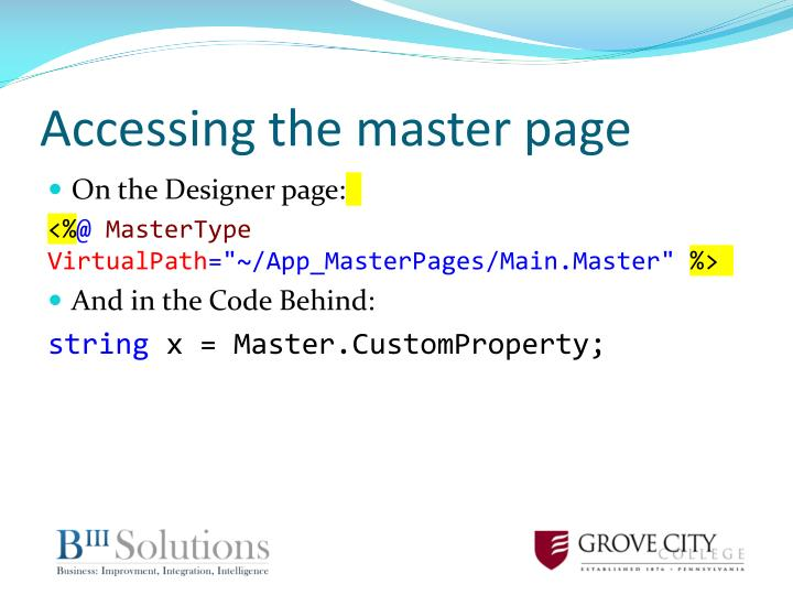 Accessing the master page