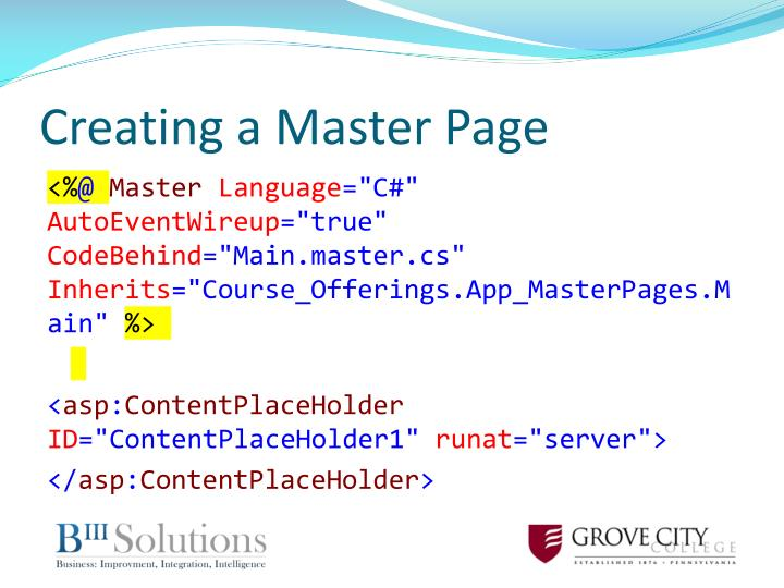 Creating a Master Page