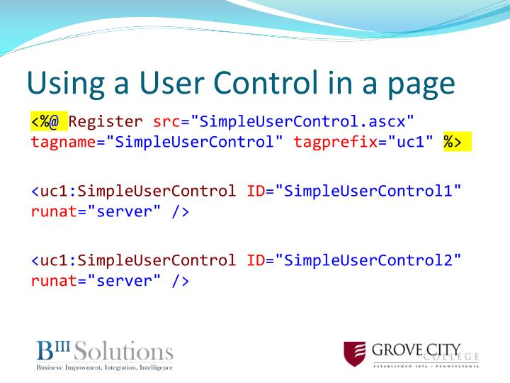 Using a User Control in a page