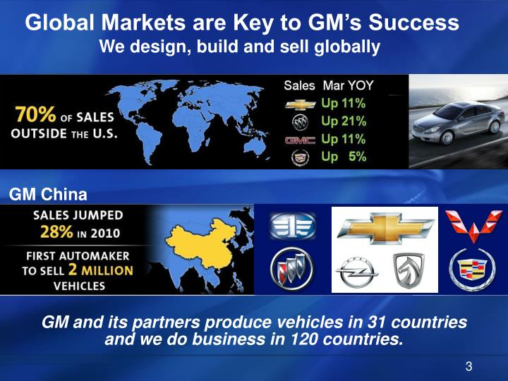 Global markets are key to gm s success we design build and sell globally
