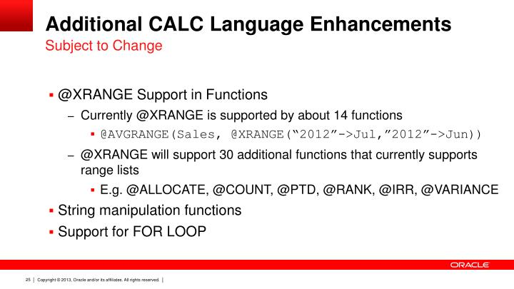 Additional CALC Language Enhancements