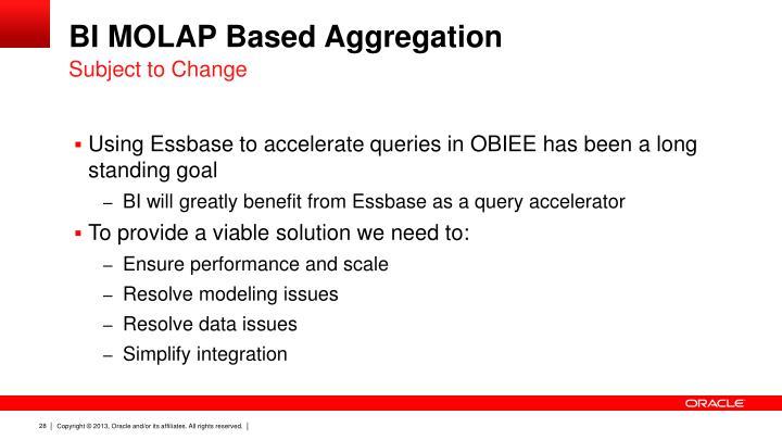 BI MOLAP Based Aggregation