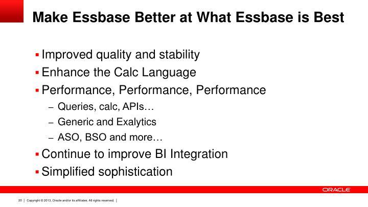 Make Essbase Better at What Essbase is Best