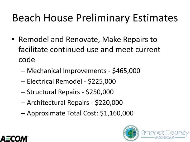 Beach House Preliminary Estimates