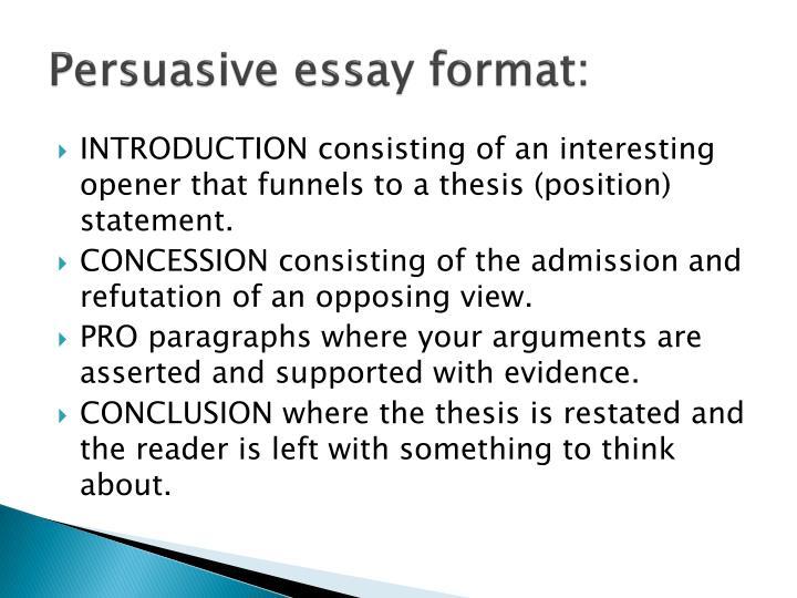 Persuasive essay format: