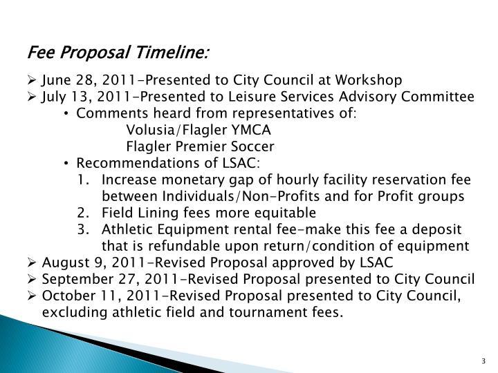 Fee Proposal Timeline:
