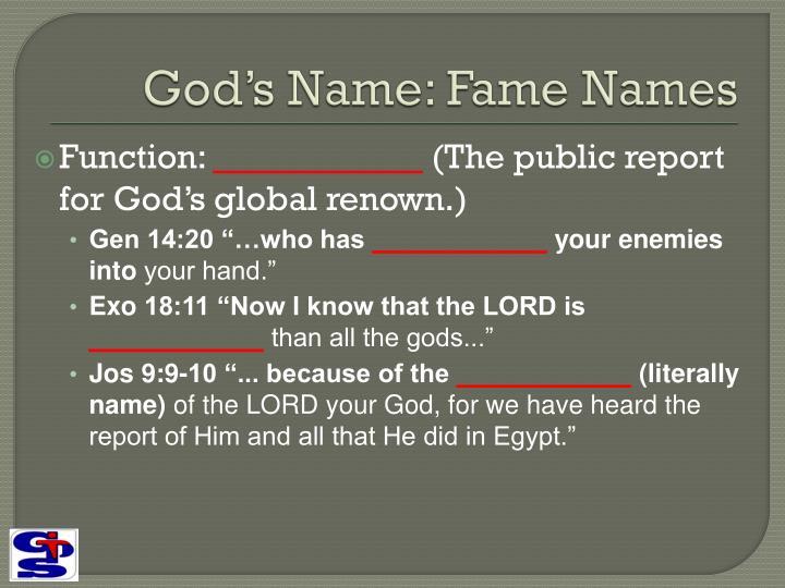 God's Name: Fame